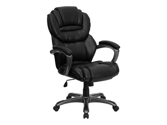 Offex High Back Black Leather Executive Office Chair with Leather Padded Loop Arms