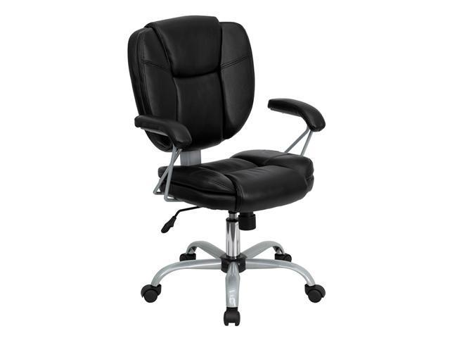 Flash Furniture Mid-Back Adjsutable Black Leather Home Office Task Contemporary Computer Chair