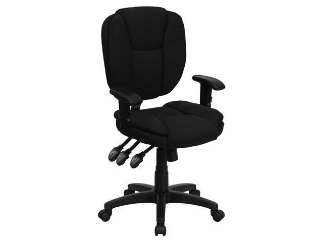 Flash Furniture Mid-Back Tripple Paddle Control Black Fabric Multi-Functional Ergonomic Task Chair with Arms