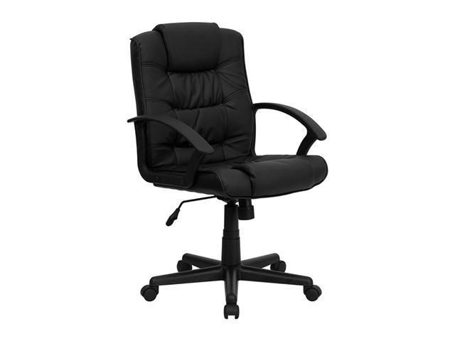 Offex Mid-Back Black Leather Office Chair