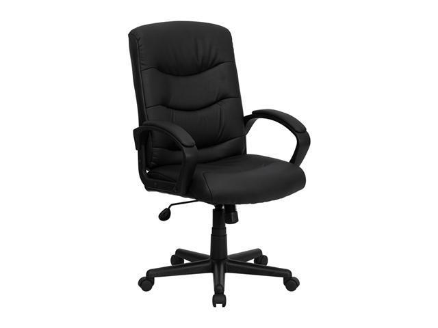 Flash Furniture Mid-Back Padded Adjsutable Black Leather Home Office Tilt Executive Chair