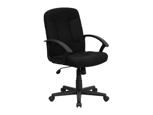 Flash Furniture Mid-Back Black Adjsutable Fabric Task and Computer Chair with Nylon Arms