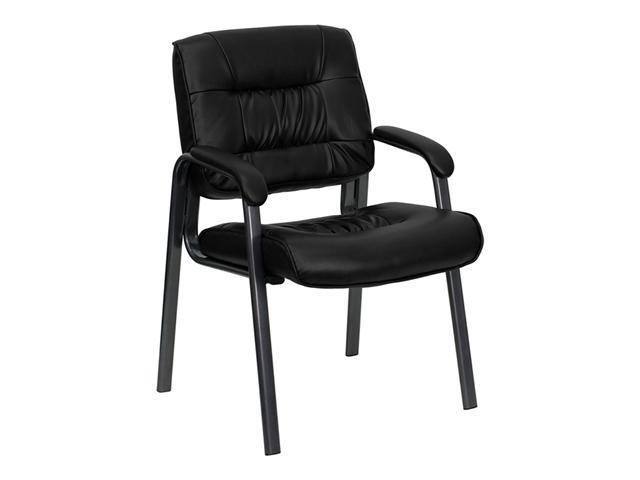 Flash Furniture Black Leather Executive Side Chair with Titanium Frame Finish [BT-1404-BKGY-GG]