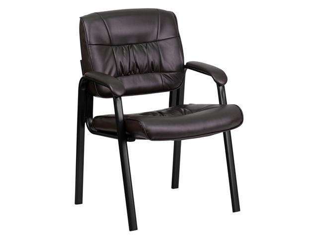 Flash Furniture Brown Leather Guest Reception Waiting Room Office Chair with Black Frame Finish