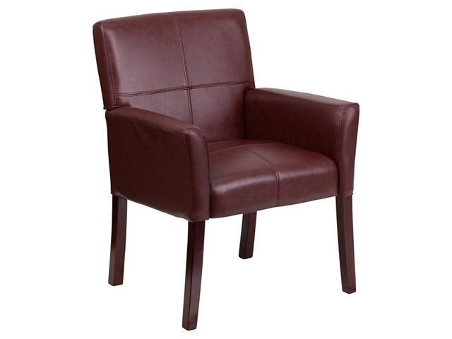 Flash Furniture Burgundy Comfortable Leather Executive Side Reception Chair with Mahogany Wooden Legs