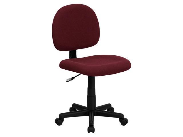 Flash Furniture Mid-Back Ergonomic Burgundy Fabric Mobile Computer Home Office Desk Armless Task Chair
