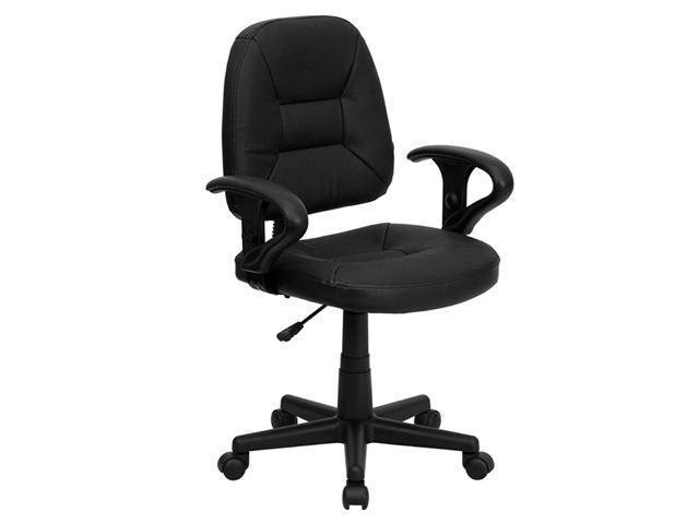Flash Furniture Mid-Back Black Leather Ergonomic Task Chair with Arms [BT-682-BK-GG]