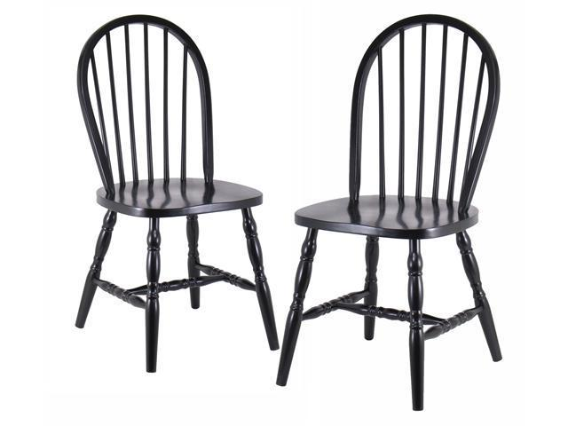 Winsome Set Of 2 Solid Wood Windsor Chairs With Curved Legs - Black