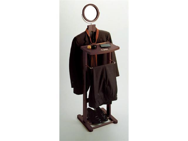 Winsome Wooden Valet Stand With Mirror, Open Base - Dark Espresso Finish