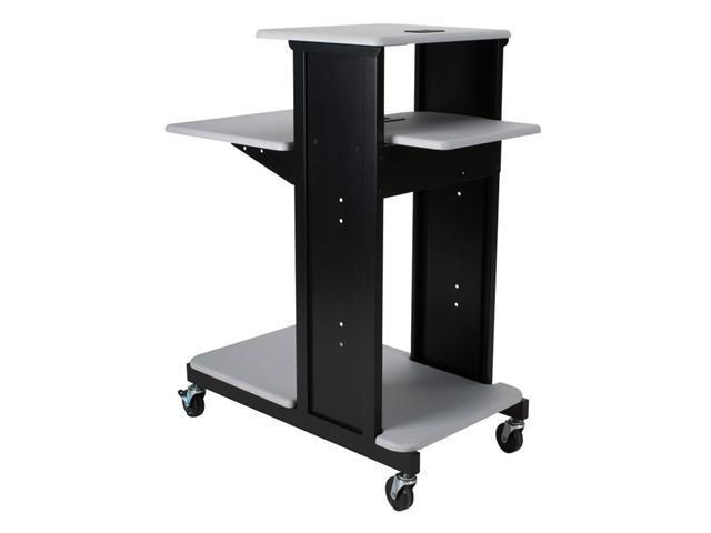 Balt Gray Extra Long Presentation Cart With Laptop Sotrage Shelf