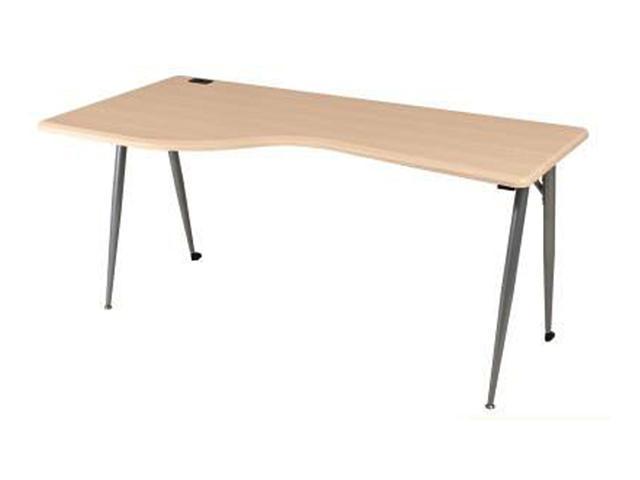 Balt Iflex Printer Table - Teak Top - Silver Legs