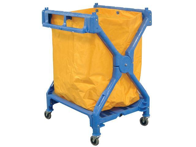 Luxor Rolling Commercial Folding Heavy Duty Janitorial Commercial Housekeeping Cleaning Service Laundry Cart With Nylon Bag - Blue