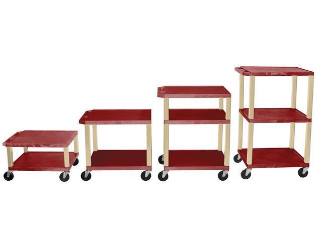H.Wilson 3 Flat Shelf Rectangular Rolling Adjustable Height Multipurpose Lightweight Service Utility Tuffy AV Cart Casters Burgundy Putty Legs