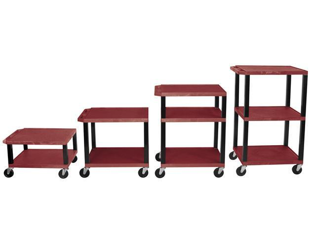 H Wilson WT1642E-B Adjustable Height 3 Shelves Black Legs Tuffy Cart Burgundy