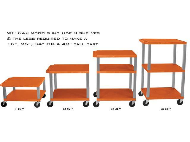 H. WILSON Portable 42'' H Adjustable Orange All Purpose Boardroom Service Utility Tuffy AV Cart With 3 Shelves And Electrical Outlet In Nickel  Legs