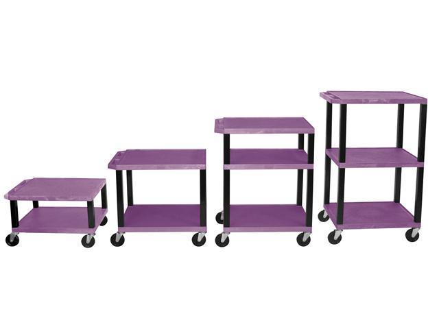 H.Wilson 3 Flat Shelf Rectangular Rolling Adjustable Height Multipurpose Lightweight Service Utility Storage Tuffy AV Cart Casters Purple Black