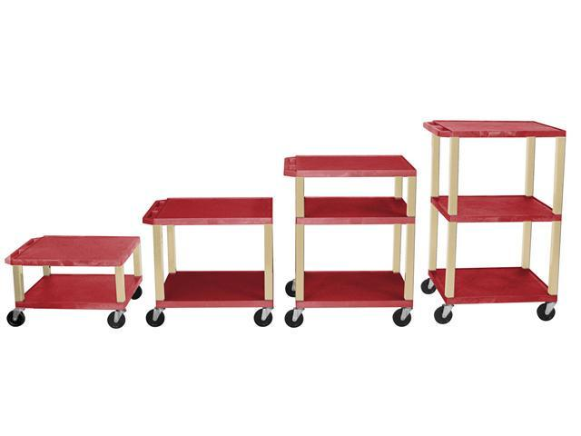 H.Wilson 3 Flat Shelf Rectangular Rolling Adjustable Height Multipurpose Lightweight Service Utility Storage Tuffy AV Cart Casters Red Putty