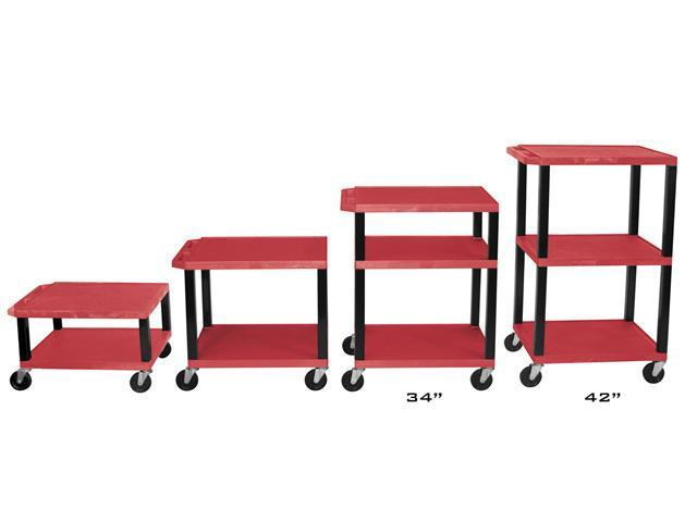 H Wilson WT1642E-B Adjustable Height 3 Shelves Black Legs Tuffy Cart Red