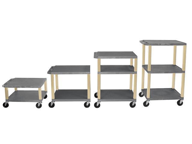 H Wilson WT1642E Adjustable Height 3 Shelves Putty Legs Tuffy AV Cart Gray