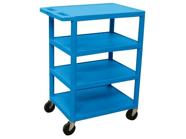 Luxor BC45 Four Flat Shelf Strutural Foam Plastic Cart Blue