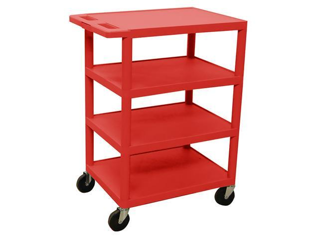 Luxor Mobile 4 Open Shelves Mobile Banquet Plastic Tuffy Tuffy Utility Storage Sliding Tray Service Cart 36' Red