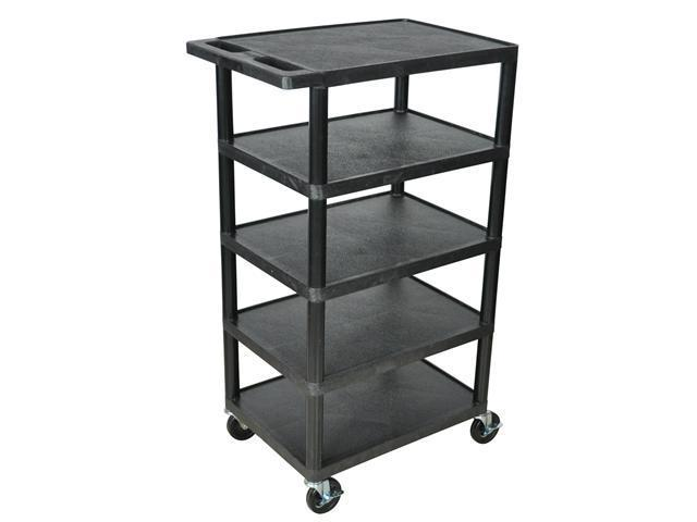 Luxor BC50 Five Flat Shelf Strutural Foam Plastic Cart Black