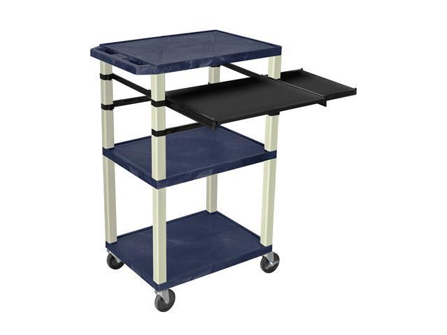 H. Wilson Multipurpose Mobile Multimedia Tuffy Presentation Cart Putty Front And Side Pull Out Laptop Shelf Topaz Blue 42