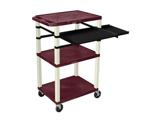 H. Wilson Multipurpose Mobile Multimedia Tuffy Presentation Cart Front And Side Pull Out Shelf Burgundy Putty 42
