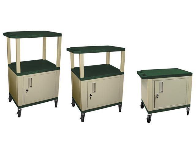 H Wilson WT2642C3E Adjustable Height 3 Shelves Hunter Green Tuffy Cart with Cabinet Putty Legs