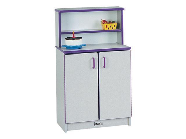 Jonti-Craft Rainbow Accents Kids Play Room Wooden Kitchen Double Door Cabinet Cupboard With Storage Shelves Purple