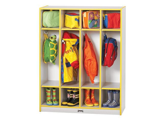 Jonti-Craft Rainbow Accents Multipurpose Kids Room 4 Sections Backpacks Boots Wooden Cubbies Coat Locker Black