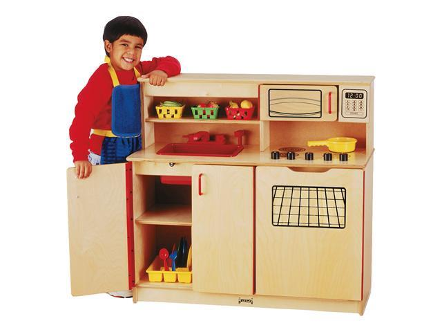 Jonti-Craft Preschool Kids Pretend Play Room Wooden 4-In-1 Toy Cooking Kitchen Activity Center