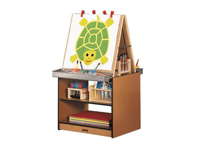 Jonti-Craft Sproutz Kids Classroom Painting Foldable Chalkboard Write N Wipe 2 Station Art Easel Center Cabinet Storage Red