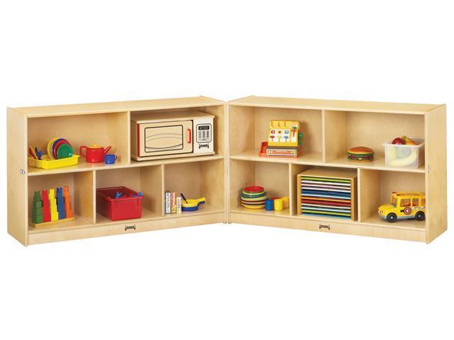 Jonti-Craft Kids Low Fold N Lock Mobile Wooden Multiple Shelf Toy Storage Cubby Organizer Unit
