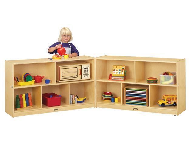 Jonti-Craft Thriftykydz Kids Low Fold N Lock Mobile Wooden Multiple Shelf Toy Storage Cubby Organizer Unit