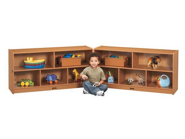Jonti-Craft Sproutz Toddler Fold N Lock Mobile Wooden Multiple Shelf Toy Storage Cubby Organizer Unit Black