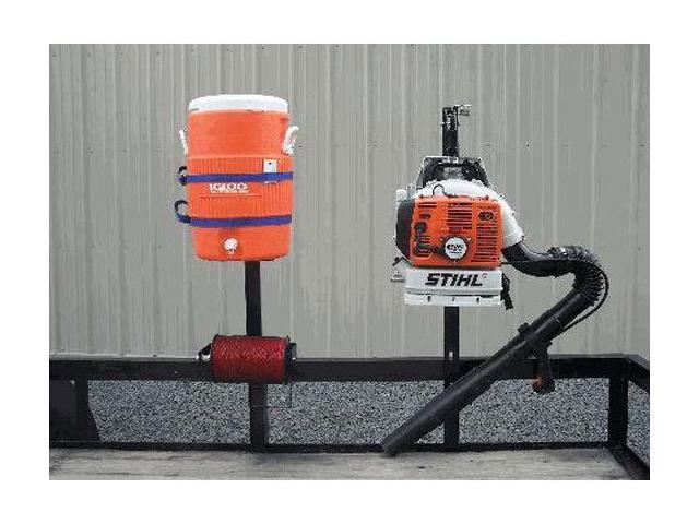 Pack'Em Racks Lockable Back Pack Blower, Trim Line, & Beverage Cooler Storage Rack System - Open