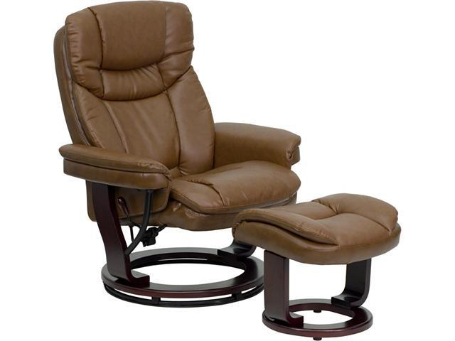 Contemporary Palimino Leather Recliner and Ottoman with Swiveling Mahogany Wood Base By Flash Furniture