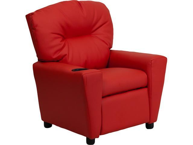 Flash Furniture Contemporary Red Vinyl Kids Recliner with Cup Holder [BT-7950-KID-RED-GG]
