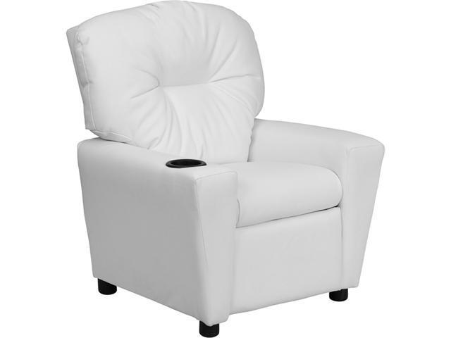 Flash Furniture Contemporary White Vinyl Kids Recliner with Cup Holder [BT-7950-KID-WHITE-GG]
