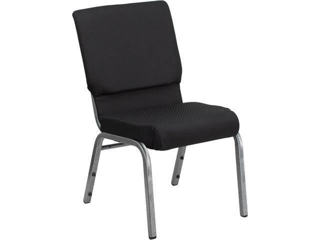 Flash Furniture HERCULES Series 18.5'' Wide Black Patterned with 4.25'' Thick Seat Stacking Church Chair - Silver Vein Frame [FD-CH02185-SV-JP02-GG]