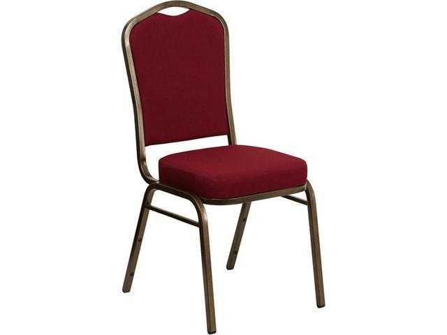Flash Furniture HERCULES Series Crown Back Stacking Banquet Chair with Burgundy Fabric and 2.5'' Thick Seat - Gold Vein Frame [FD-C01-GOLDVEIN-3169-GG]