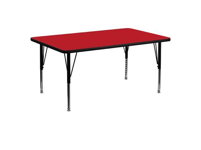 Flash Furniture 30''W x 60''L Rectangular Activity Table with 1.25'' Thick High Pressure Red Laminate Top and Height Adjustable Pre-School Legs [XU-A3060-REC-RED-H-P-