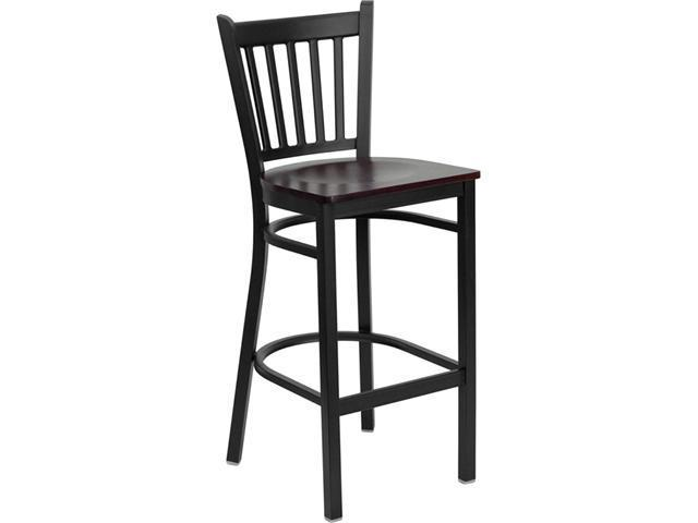 Flash Furniture HERCULES Series Black Vertical Back Metal Restaurant Bar Stool with Mahogany Wood Seat