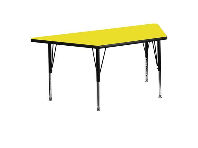 Flash Furniture 30''W x 60''L Trapezoid Activity Table with 1.25'' Thick High Pressure Yellow Laminate Top and Height Adjustable Pre-School Legs [XU-A3060-TRAP-YEL-H-