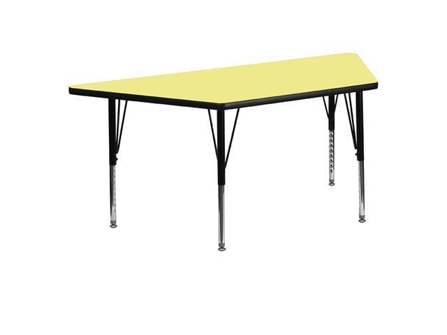 Flash Furniture 30''W x 60''L Trapezoid Activity Table with Yellow Thermal Fused Laminate Top and Height Adjustable Short Legs