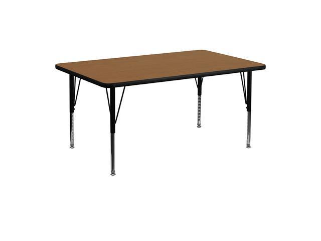 Flash Furniture 24''W x 48''L Rectangular Activity Table with Oak Thermal Fused Laminate Top and Height Adjustable Short Legs