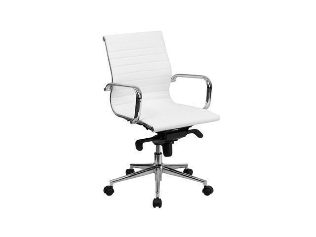 Flash Furniture Mid-Back White Ribbed Leather Dual Paddle Control Swivel Executive Office Desk Conference Chair