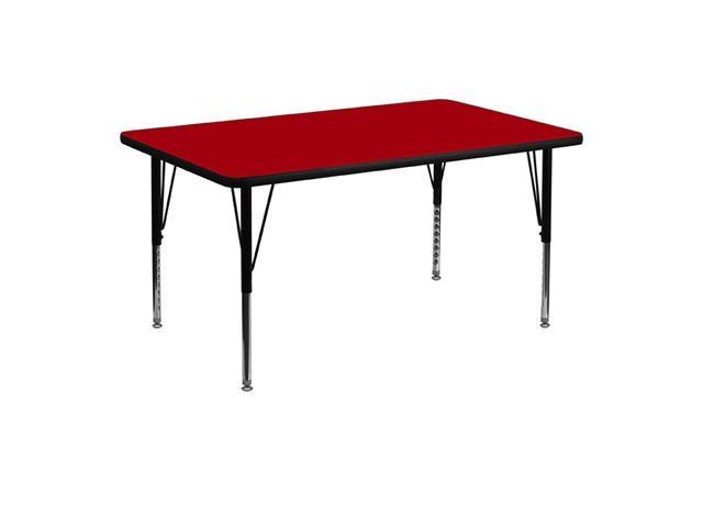 Flash Furniture 30''W x 48''L Rectangular Activity Table with Red Thermal Fused Laminate Top and Height Adjustable Short Legs