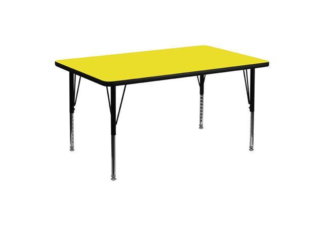 Flash Furniture 30''W x 48''L Rectangular Activity Table with 1.25'' Thick High Pressure Yellow Laminate Top and Height Adjustable Pre-School Legs [XU-A3048-REC-YEL-H
